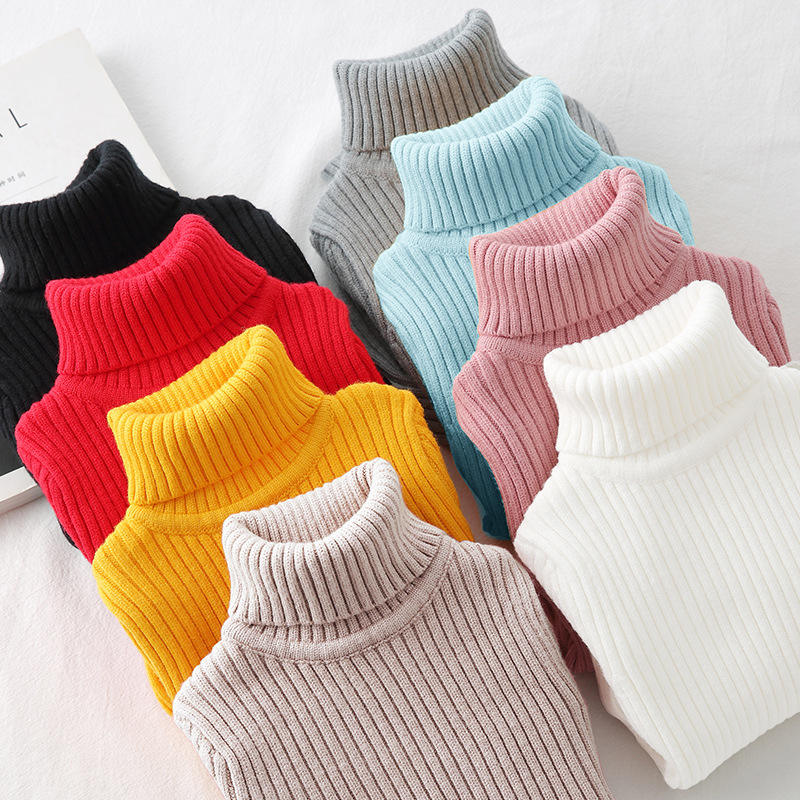 Girls Turtleneck Sweater Knit Solid Color Blank Children's Sweater