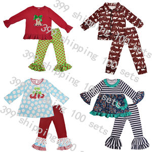 New fall girls boutique clothing sets cotton children kids ruffle outfit girls outfits kids winter clothing wholesale