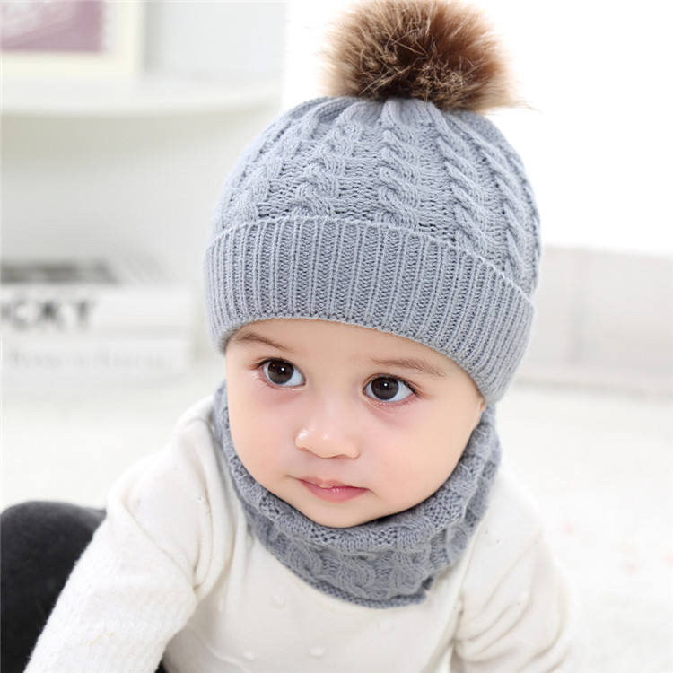 Amazon hot sale 2pcs kids winter warm pom pom hats children knitted hat neck scarf set