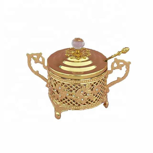 Kitchen restaurant tableware metal frame glass sugar spice pot with lid spoon