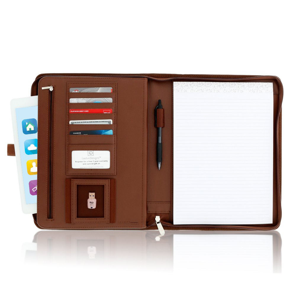 Zippered Leather Business Portfolio Padfolio - Professional Dark Brown PU Leather Portfolio Binder & Organizer Folder