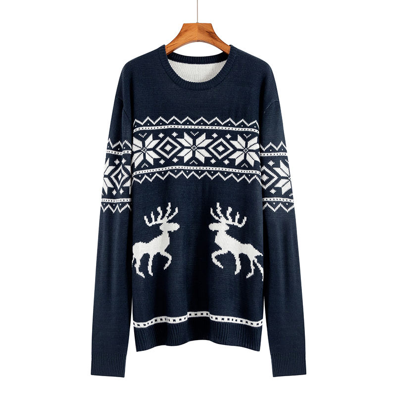 Wholesale O-neck long sleeves Knitted Sweater Unisex OEM Christmas Jumper Plus size men's sweater for Ugly Christmas sweater