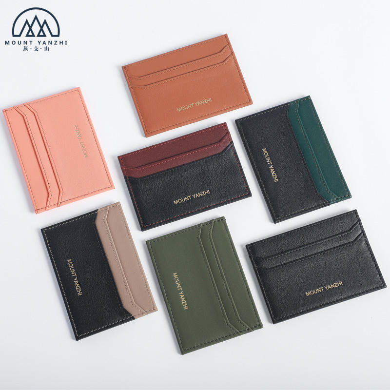 Colors Combined Compact RFID Full Grain Slim Leather Card Holder