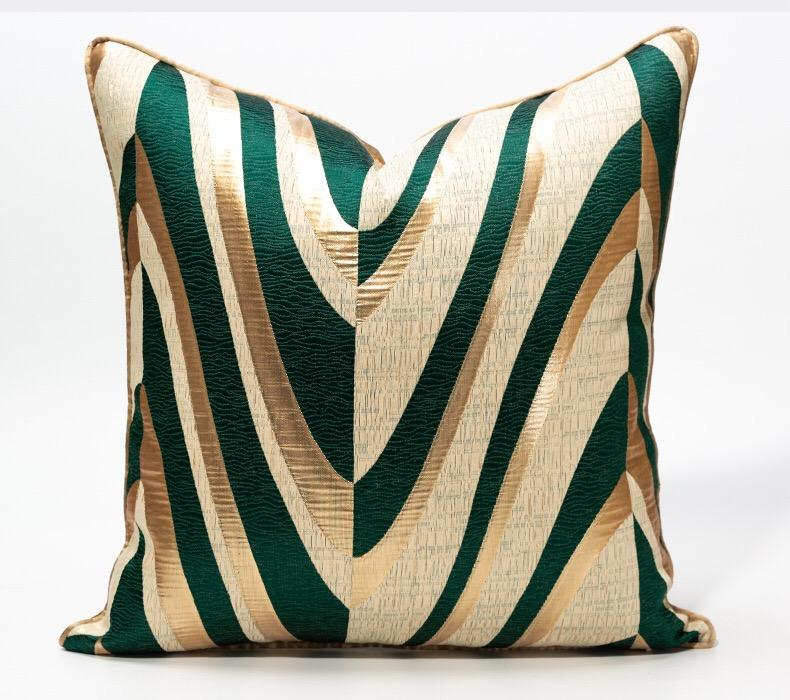 Decorative Square striped embroidered Luxury Pillow Covers 18x18 Jacquard Throw Pillow Covers Home Soft Cushion Cover