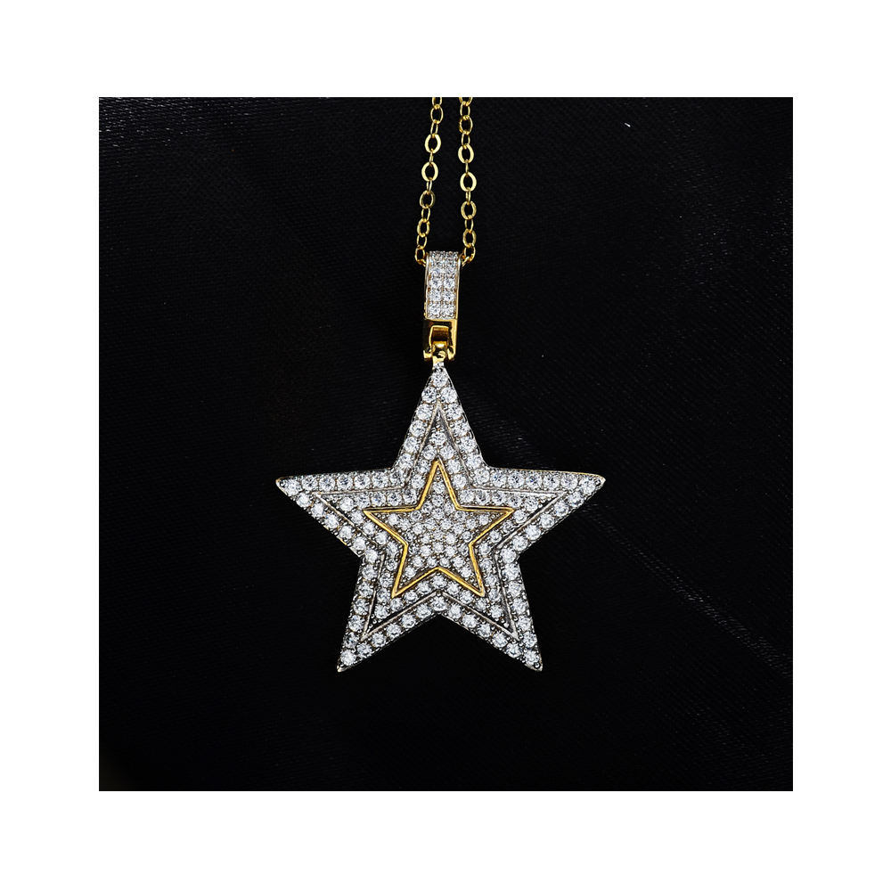 Iced out micro pave cz star shape sterling silver jewish star female jewelry necklace