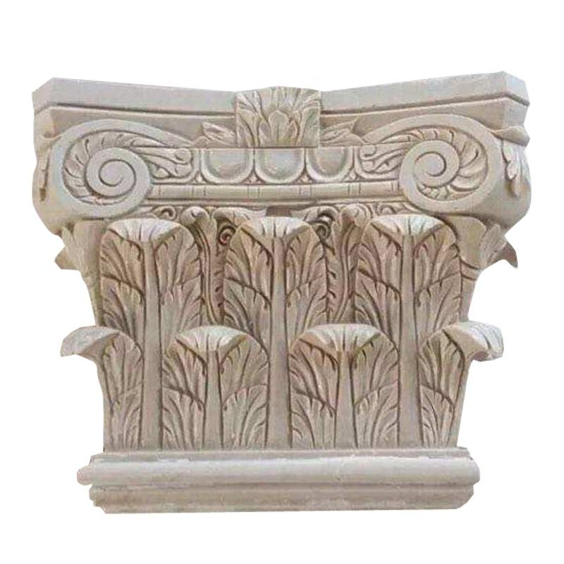 Newstar natural stone beige marble column capital roman column for decoration