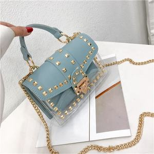 Small bag female fashionable rivets transparent women clear PVC shoulder jelly bag handbags for young ladies