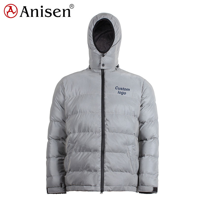 keep warm windproof waterproof plus size jacket 3M reflective down look puffer man winter reflective jacket
