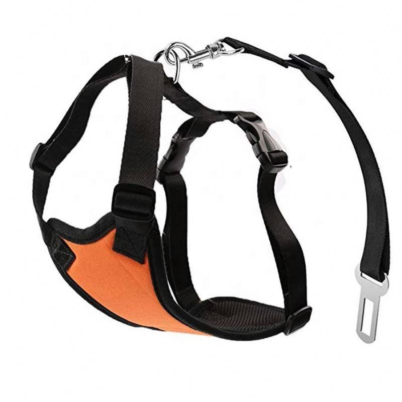 Orange Color Dog Safety Vest Harness with Safety Belt