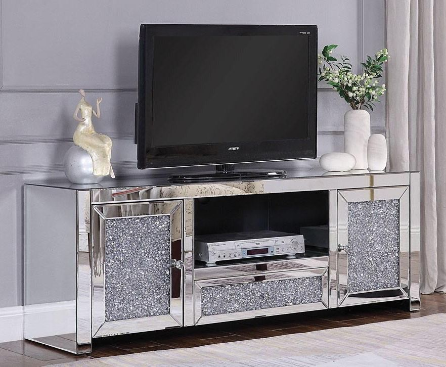 New modern glass furniture crystal mirrored silver TV stand