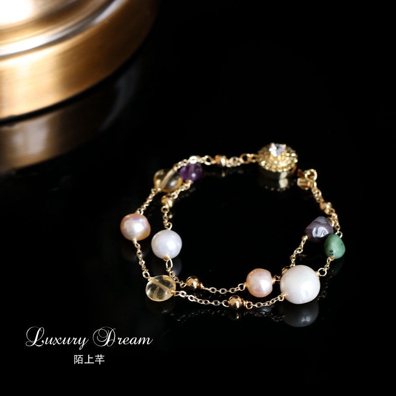 Colorful natural stone double bracelet wrist ornaments freshwater pearls simple and fresh temperament temperament jewelry