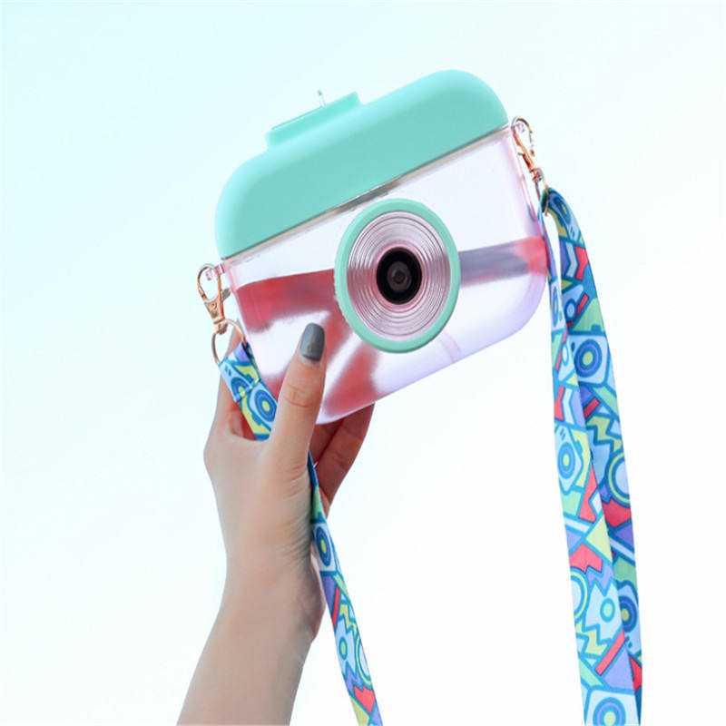 Solhui Kawaii Camera Water Bottle with Lanyard Water Cup Children's Plastic Gift Water Cup Outdoor