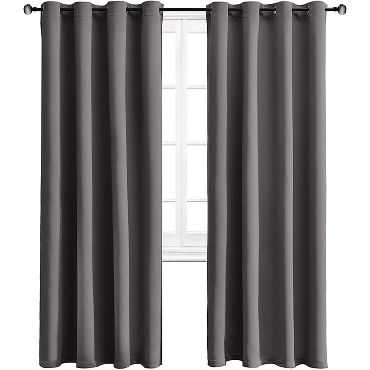 Ready Made Blackout Triple Weaving 100% Polyester Solid Blackout Curtains Cortinas for Living Room