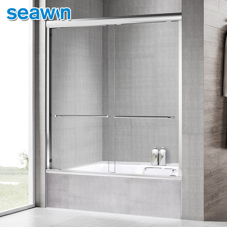 Seawin Chrome Bathtub Frame 10 Mm Glass Aluminum Sliding Shower Doors