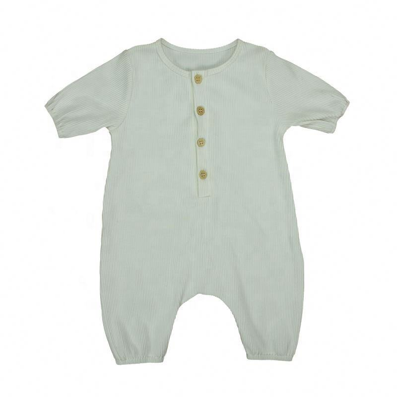 Baby Clothes Newborn Ribbed Cotton Bodysuit Short Sleeve Baby + Rompers Solid White Baby成長