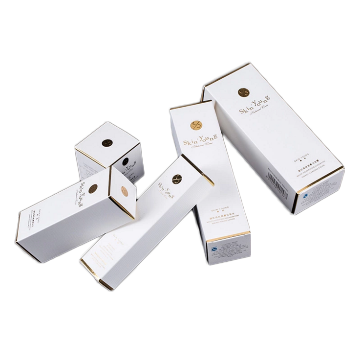 Printed Paper Packaging Box Cream Paper Cosmetics Packaging Boxes With Gold Foil Stamping 2oz 60ml 30ml Food Paper Box