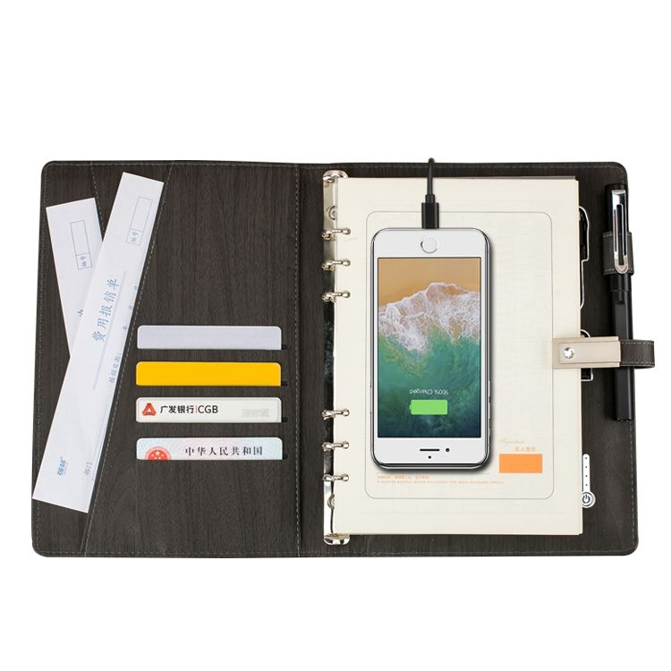 Wood grain style charging notebook with powerbank usb
