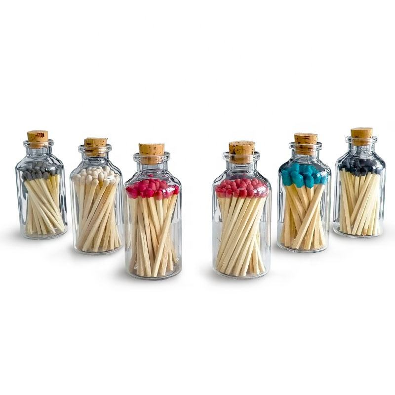 Wooden glass bottle matches match sticks in bulk wholesale colored matches
