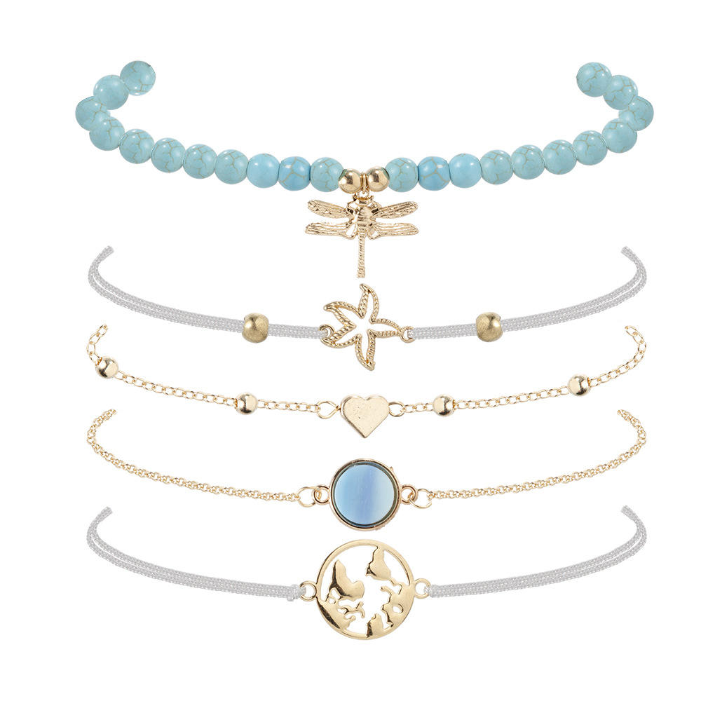Selling simple blue pine stone dragonfly bracelet personality natural lime rope map starfish five-piece bracelet set