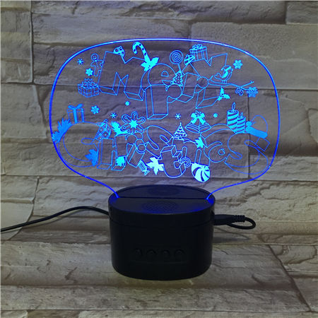 Newest Acrylic Gifts Rechargeable Wireless Speaker Night Light Lamp Touch Control Merry Christmas 3D LED Night Light