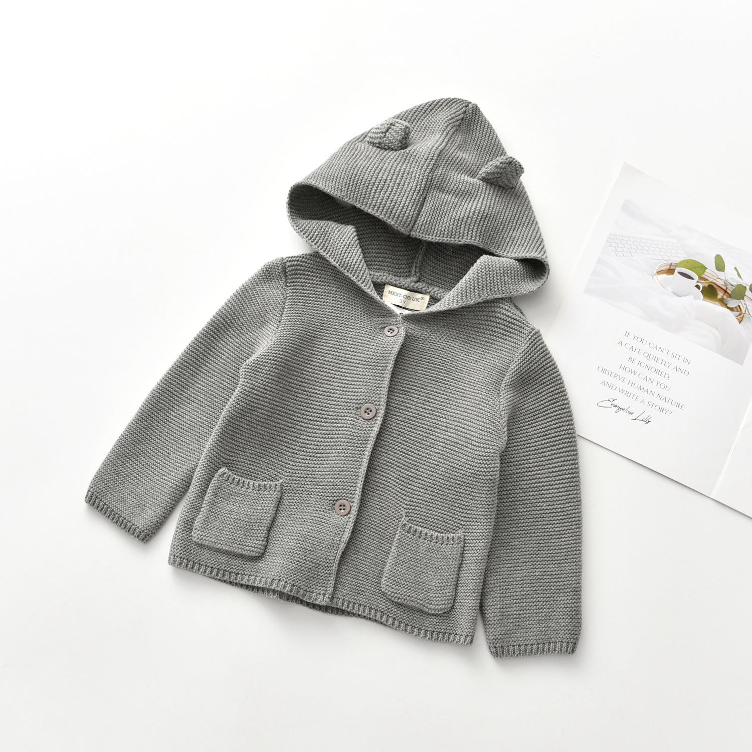 Fashion hooded designs winter knit sweater baby cardigan