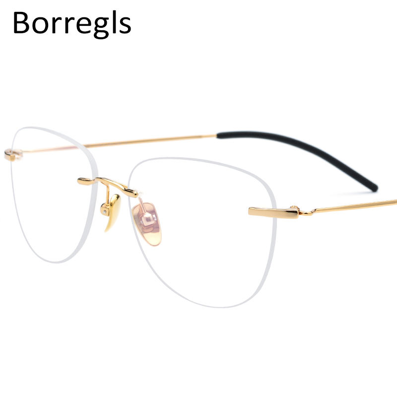 Borregls B Titanium Rimless Glasses Frame Women Prescription Eyeglasses Myopia Optical Men Vintage Oval Eyewear 1855