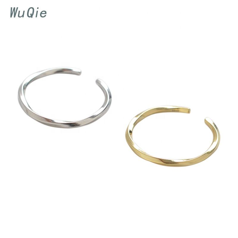 Wuqie Minimalist Ring Silver 925 Gold Plated Two color Rings Jewelry Couple Ring Bijoux