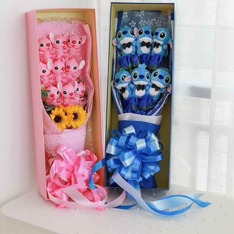 STITCH Ramo Artificial dibujos animados encantadora peluche juguetes de la puntada para el día de San Valentín