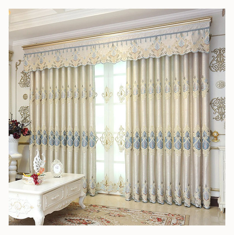 Ready Made Home Jacquard Fabric European Luxury Embroidered Blackout Curtains