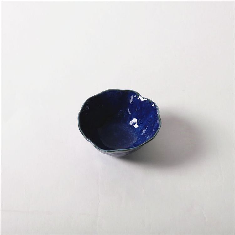 Factory direct sell blue small ceramic condiment pickles relish sauce bowl