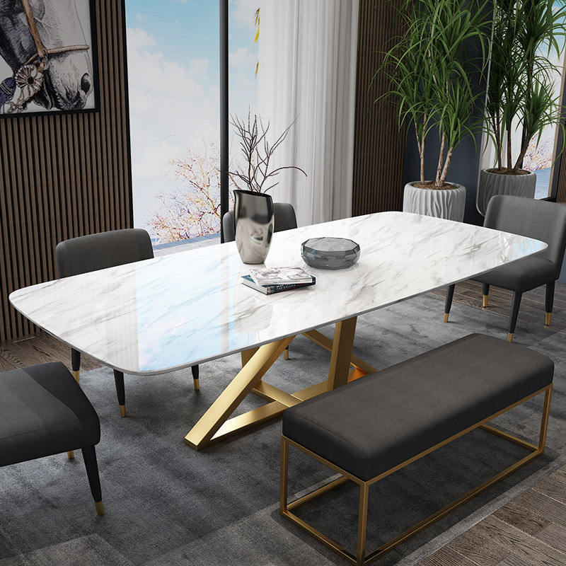 Modern luxury dining room furniture tables gold stainless marble dining table set , cafe chairs and tables
