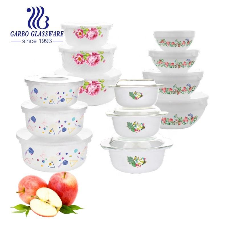 2020 China Opal Glass Bowl Dinner set Biodegradable Salad Opal Glass Microwave Bowl Set With Lid 4pcs