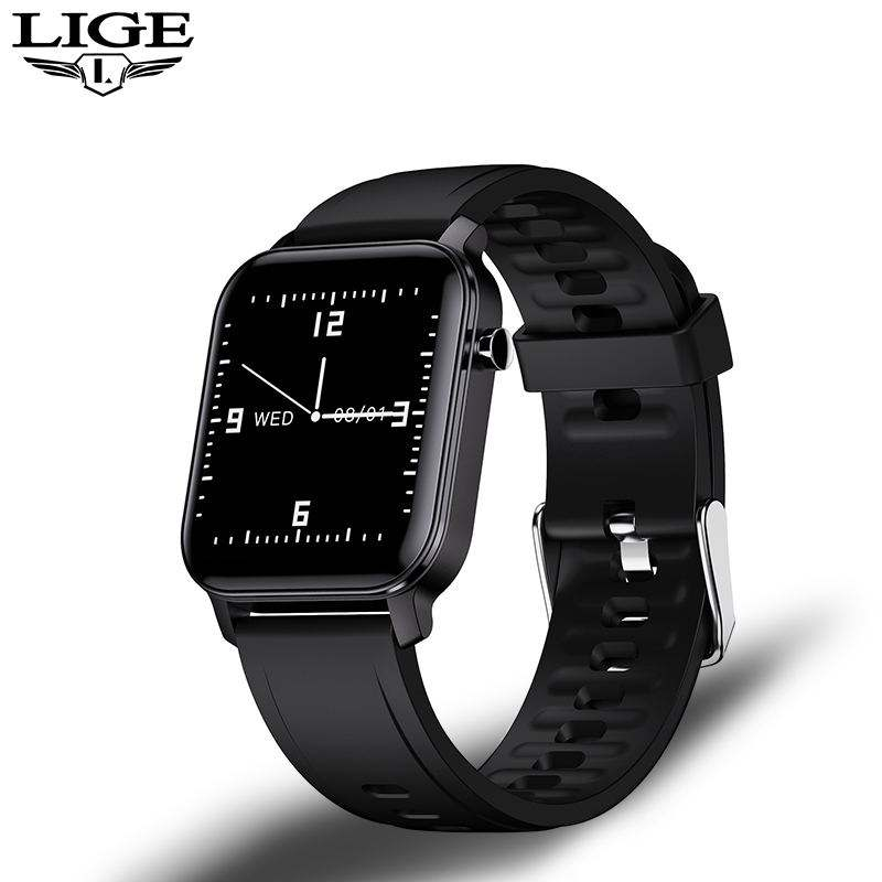LIGE Sport Smart Watch MenスマートウォッチWomen IP68 Waterproof Swimming Health Tracker LED HD Color Full Touch Screen Fitness腕時計