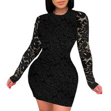 top quality women summer long sleeve dresses sexy backless evening lace dress V-Neck Lace Dress with Cut-Out Back