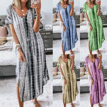 2020 Summer best selling casual dresses printed split V-neck loose plus size irregular dress