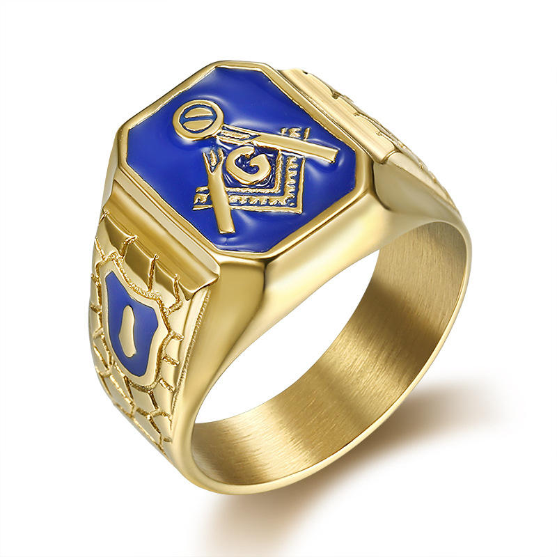 Latest Gold Plated Mens Knights Templar Masonic Ring