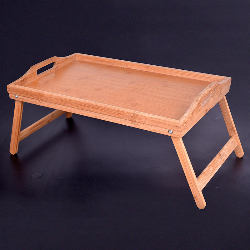 2020 New Arrival Custom Folding Bamboo Wood Snack Food Serving Bed Tray Table