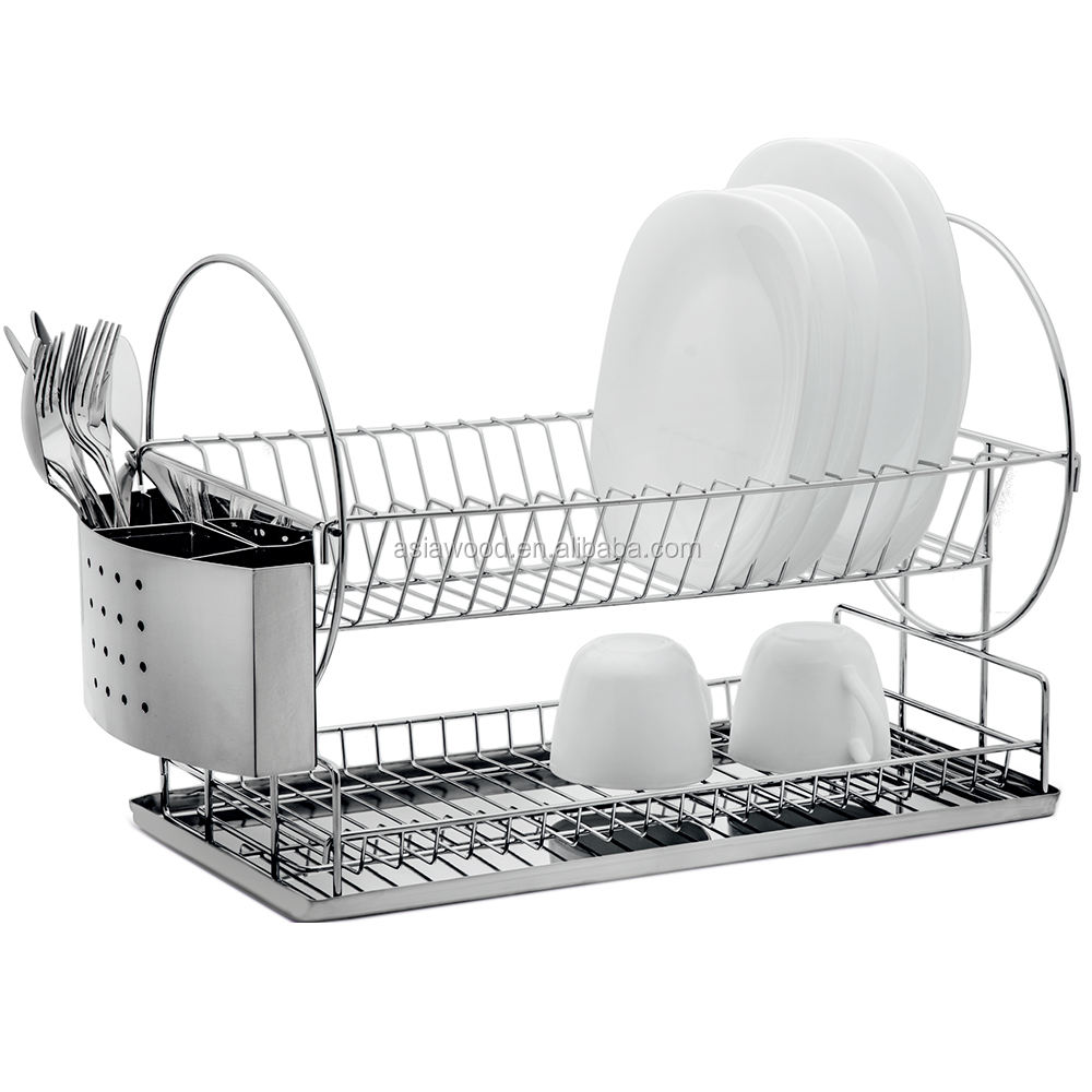 Kitchen Chrome wire Dish Rack with stainless steel tray(AWK106)