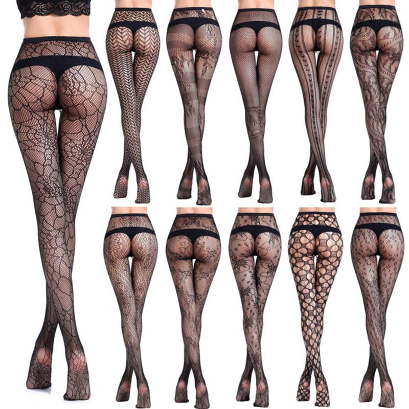 55022 Popular Jacquard Women Sexy Lingerie Mesh Net Stockings Embroidered Hollow Out Stretchy Fishnet Tights Pantyhose