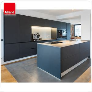 Modern Design Matte Lak Mdf Flat Panel Twee Tone Keuken Kasten Met Eiland Made In China