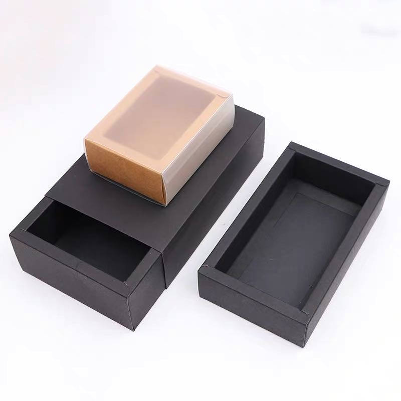 Black Delicate Cookie Candy Cake Drawer Display Gift Kraft cardboard Paper Packing Box with Transparent PVC window