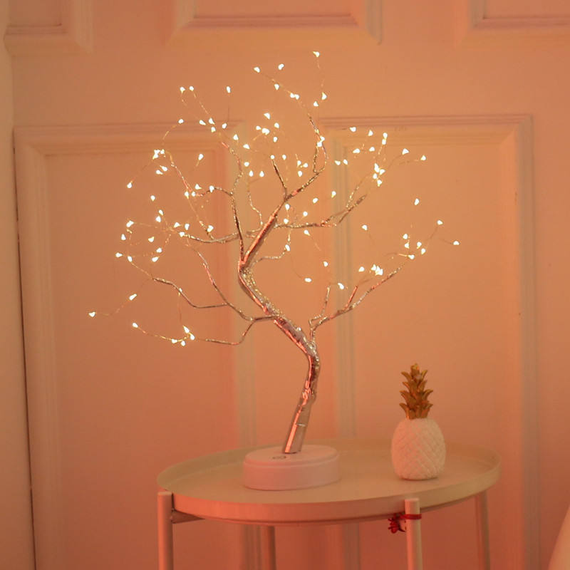 36/108 Pearls LED Tabletop Bonsai Tree Light, DIY Artificial Light Tree Lamp Decoration for Gift Home Wedding Festival Holiday