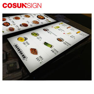 Super Slim Restoran Menu Makanan Gantung Dua Sisi LED Display Lampu Kotak Tanda