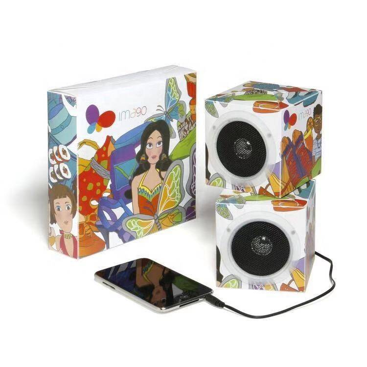 Best promotion gift 3.5mm jack wired cube mp3 mobile cell phone Mini Foldable Printed Cardboard Paper speaker