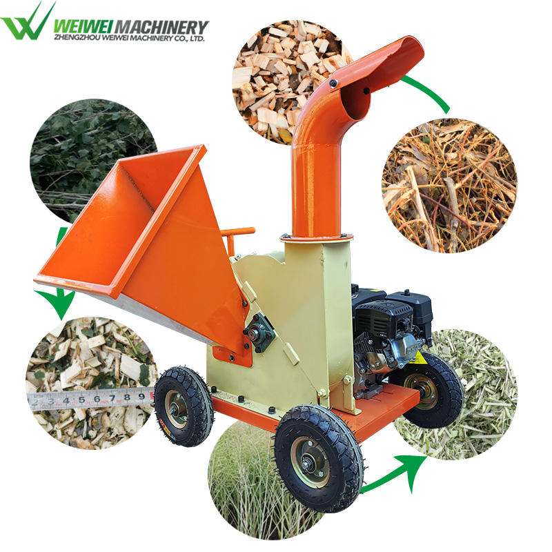 Wood Machine Sales Weiwei TUV Approved Small 7.5hp Garden Forestry Machinery Wood Chips Hammer Mill Log Branches Compost Wood Cutter Machines