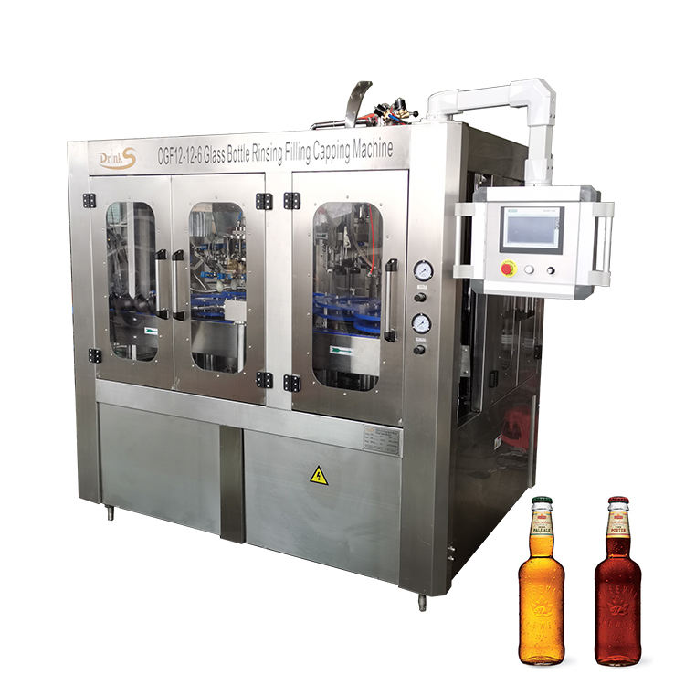 Small Scale Automatic Glass Bottle Wine / Carbonated Beverage / Beer Bottling Machine