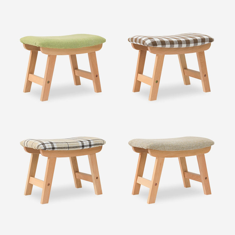 wooden Living Room Seat Stool Vanity Puff Kids Ottomans Stools with cover