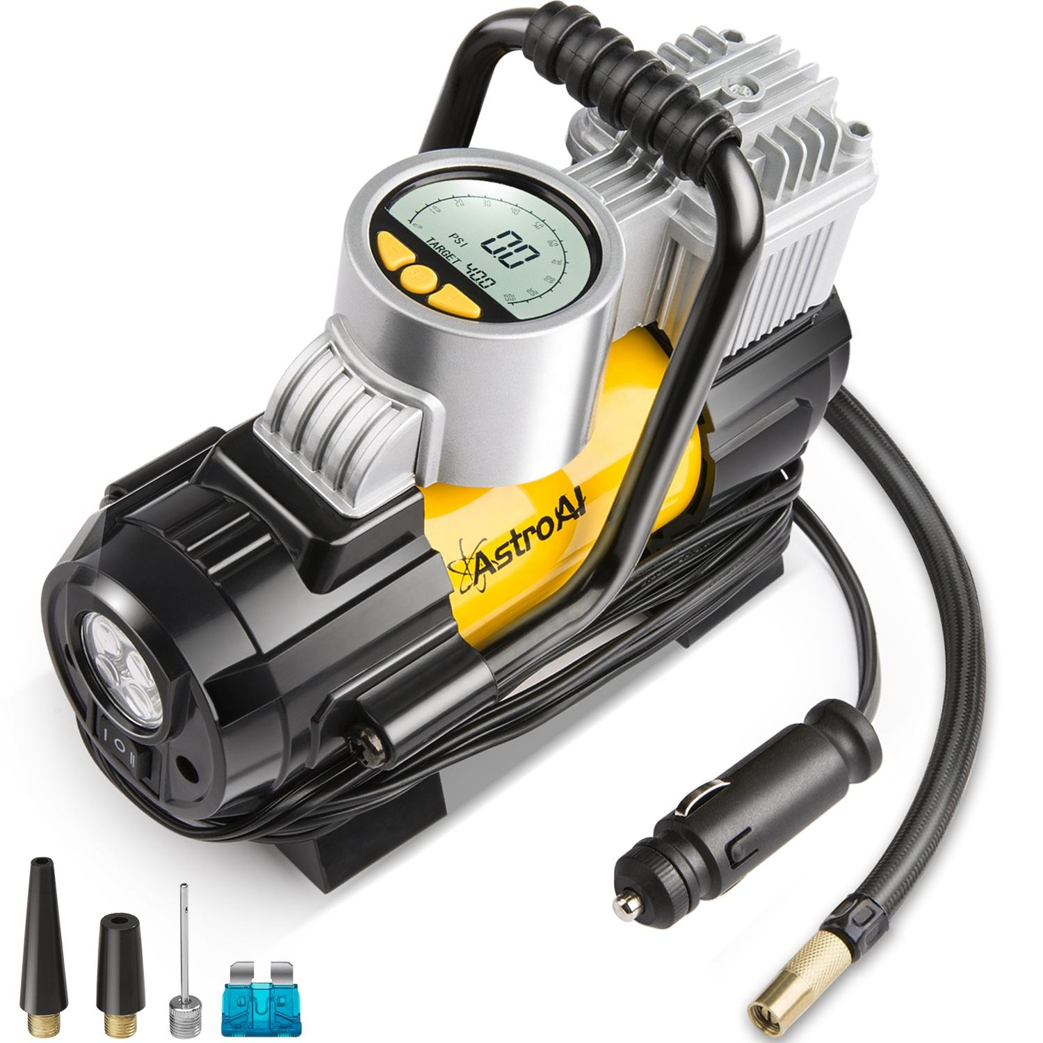 AstroAI 100- 150 PSI Digital Tire Inflator 12V DC Electric Gauge with Larger Air Flow 35L/Min Yellow