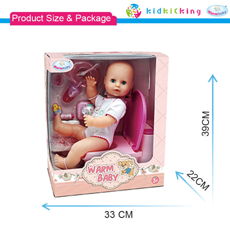 warm baby 16 inch drinking and pee cute reborn baby dolls toddler with musical potty for kids