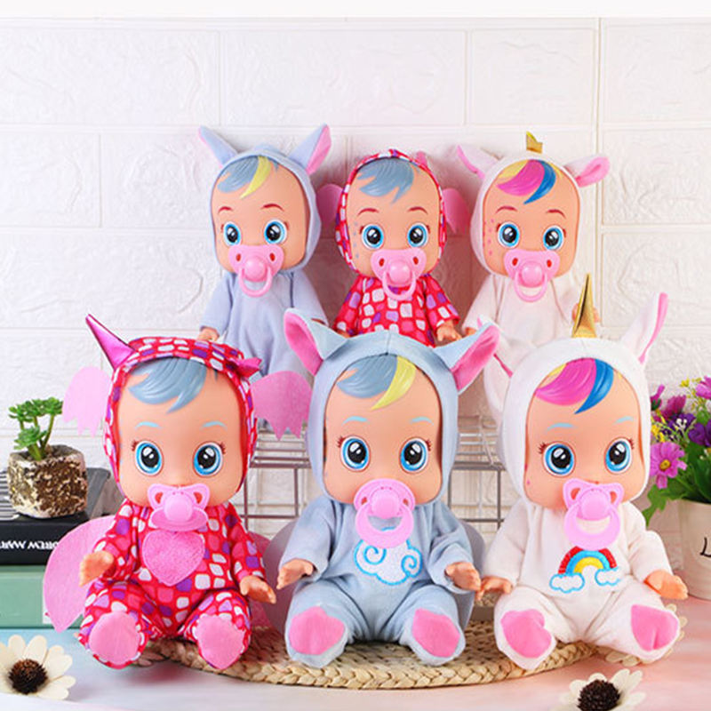 Hot sell kids Tears Dolls Toys For Children Surprise Gift 10 inch vinyl silicone Crying dolls Cry baby doll set